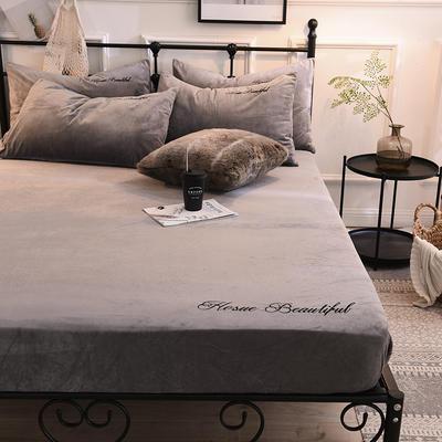 床笠 水晶绒绣花床笠 床罩 2020恩和家纺 90cmx200cm 烟灰