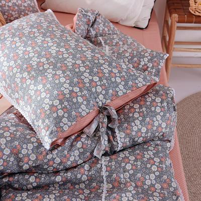 枕套 小碎花枕套 网红全棉枕套 日系纯棉枕头套2020新品 48cmX74cm 花样年华-豆沙
