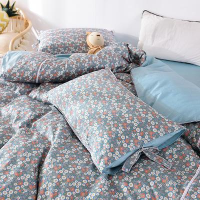 枕套 小碎花枕套 网红全棉枕套 日系纯棉枕头套2020新品 48cmX74cm 花样年华-蓝