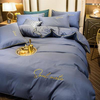 四件套 臻丝绵长绒棉四件套 轻奢刺绣字母款套件 恩和家纺 1.5m/1.8m(标准床单款)床 宾利蓝