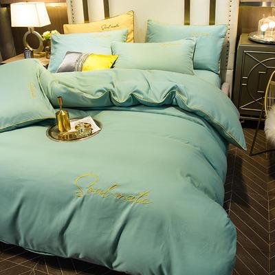 四件套 臻丝绵长绒棉四件套 轻奢刺绣字母款套件 恩和家纺 1.2m(4英尺)床 抹茶绿