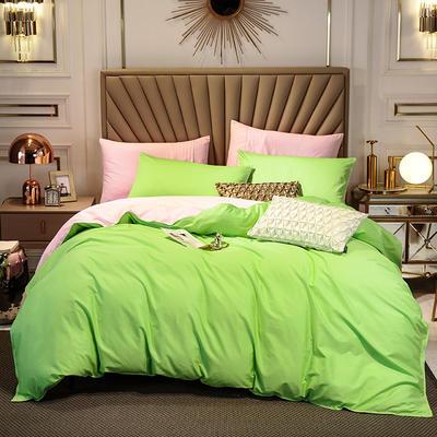 四件套 長絨棉四件套 雙拼13376精梳棉四件套 全棉被套 恩和家紡 1.2m(三件套) 果綠加粉