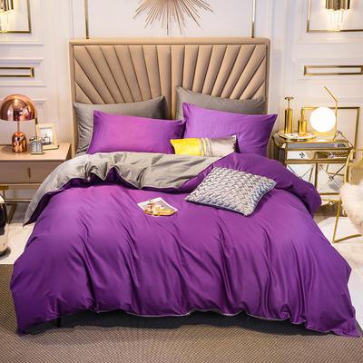 四件套 長絨棉四件套 雙拼13376精梳棉四件套 全棉被套 恩和家紡 1.2m(三件套) 冷紫加深灰