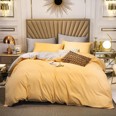 四件套 长绒棉四件套 双拼13376精梳棉四件套 全棉被套 恩和家纺 1.2m(三件套) 杏黄加银灰