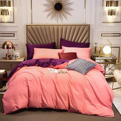 四件套 长绒棉四件套 双拼13376精梳棉四件套 全棉被套 恩和家纺 1.2m(三件套) 胭脂加冷紫