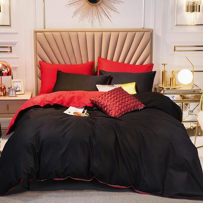 四件套 長絨棉四件套 雙拼13376精梳棉四件套 全棉被套 恩和家紡 1.2m(三件套) 黑加紅