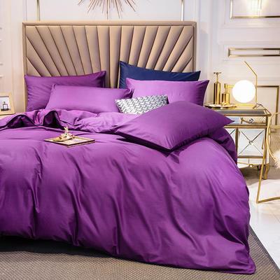 全棉四件套 13376精梳棉长绒棉四件套 纯色全棉四件套 恩和家纺 1.2m(三件套 冷紫