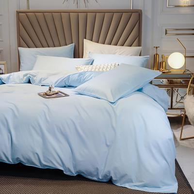 全棉四件套 13376精梳棉长绒棉四件套 纯色全棉四件套 恩和家纺 1.2m(三件套 天蓝