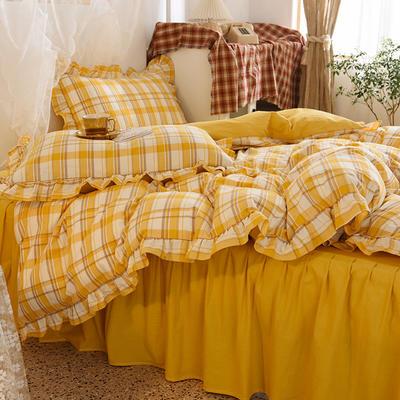 四件套 色织水洗棉四件套恩和家纺 1.5/1.8m(床单款)标准 芒果格