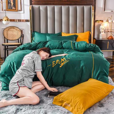 莫蘭迪色系素色雙拼輕奢刺繡系列 1.8m(6英尺)床 EGM-軍綠撞姜黃