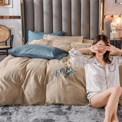 莫蘭迪色系素色雙拼輕奢刺繡系列 1.8m(6英尺)床 EGM-卡其撞賓利藍