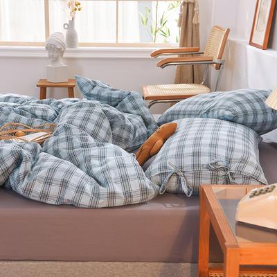 四件套色織格子水洗棉系帶款 全棉四件套 恩和家紡 1.2m(4英尺)床 海鹽格