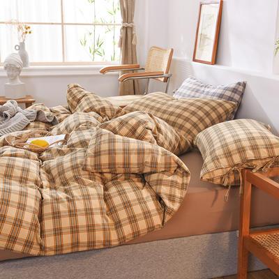 四件套色織格子水洗棉系帶款 全棉四件套 恩和家紡 1.2m(4英尺)床 麥田格