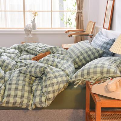 四件套色織格子水洗棉系帶款 全棉四件套 恩和家紡 1.2m(4英尺)床 青草格