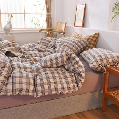 四件套色織格子水洗棉系帶款 全棉四件套 恩和家紡 1.2m(4英尺)床 薰衣草格