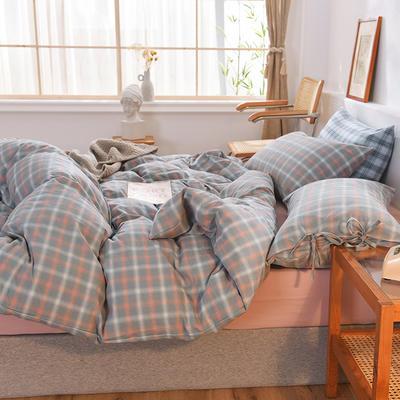 四件套色織格子水洗棉系帶款 全棉四件套 恩和家紡 1.2m(4英尺)床 煙雨格灰