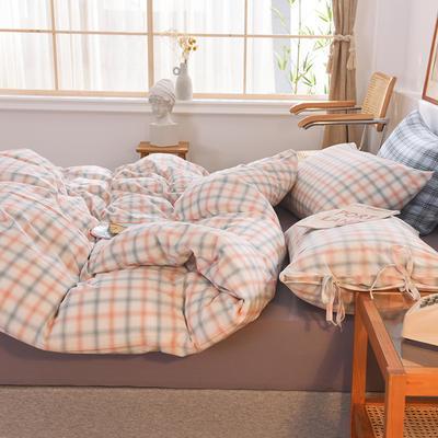 四件套色織格子水洗棉系帶款 全棉四件套 恩和家紡 1.2m(4英尺)床 煙雨格白