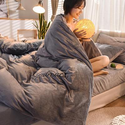 2020 宝宝绒四件套 刺绣套件 水晶绒四件套恩和家纺 1.2m(三件套)床 烟灰