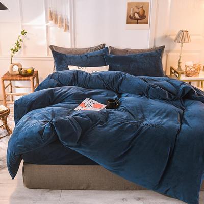 2020 宝宝绒四件套 刺绣套件 水晶绒四件套恩和家纺 1.2m(三件套)床 宝蓝