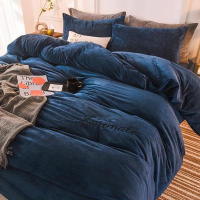 2020 宝宝绒四件套 刺绣套件 水晶绒四件套恩和家纺 标准 床单款 宝蓝