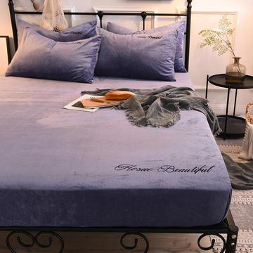 床笠 水晶绒绣花床笠 床罩 2020恩和家纺
