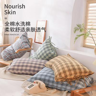 枕套 色织水洗棉单品枕套 恩和家纺 2020 48cmX74cm 彩虹格