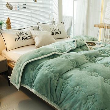 毛毯 夹棉毛毯 法莱绒梅花毯子 恩和家纺