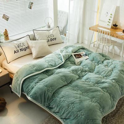 毛毯 夹棉毛毯 法莱绒梅花毯子 恩和家纺 180cmx200cm 梅花朵朵-豆绿