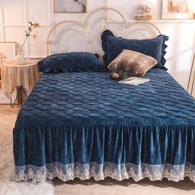 床裙 水晶绒床裙 夹棉保暖床裙 2020 150cmx200cm 宝蓝
