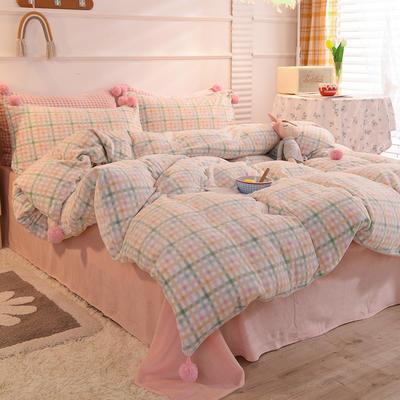 四件套 牛奶绒四件套 法莱绒四件套 恩和家纺 1.2m(3.3英尺)床 多彩格