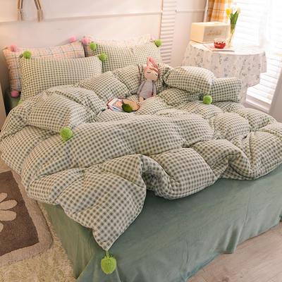 四件套 牛奶绒四件套 法莱绒四件套 恩和家纺 1.5m/1.8m(标准)床 抹茶绿格