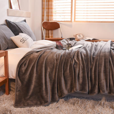 毛毯 金貂绒毯 法莱绒毯子恩和家纺 180cmX(范围200-220)cm 灰色