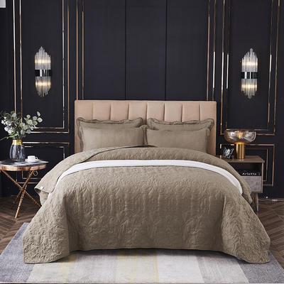 床盖 床单 夹棉床盖三件套 床单 恩和家纺 220*240cm单床盖 咖色