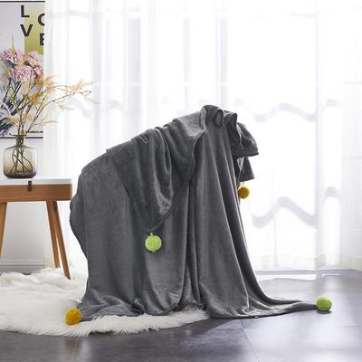 毛毯 毯子 水貂绒盖毯 恩和家纺 180cmx200cm 毛球-灰色