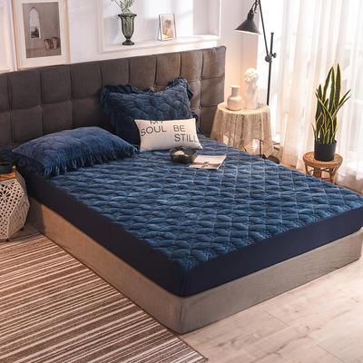 床笠 夹棉床笠 水晶绒夹棉床笠 保暖床笠 同款枕套 宝蓝