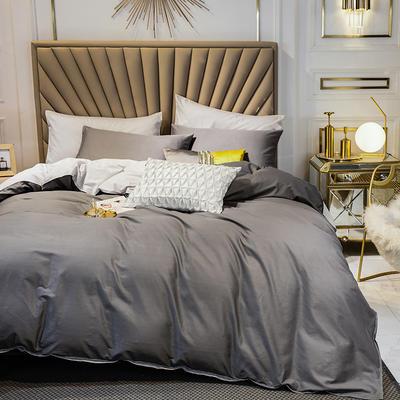四件套 全棉四件套 长绒棉四件套 床笠四件套恩和家纺 1.5/1.8m(标准)床 深灰加银灰