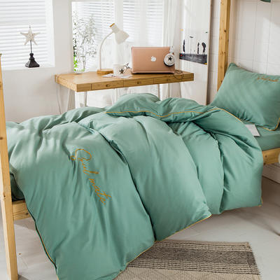 学生三件套 三件套 磨毛刺绣 公寓单人套件 恩和家纺 0.9-1.2m(3件套+枕芯)床 抹茶绿