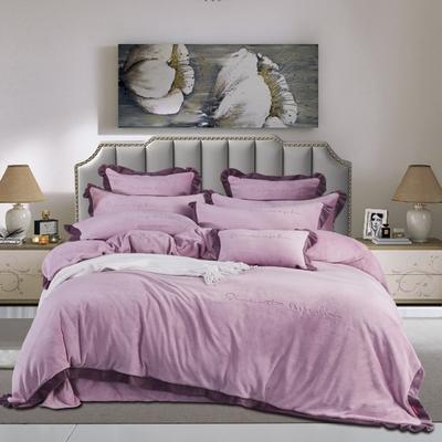 2020新款婴儿绒绣花四件套 1.5m(5英尺)床 时代都市-浅紫