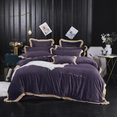 2020新款婴儿绒绣花四件套 1.5m(5英尺)床 时代都市-深紫