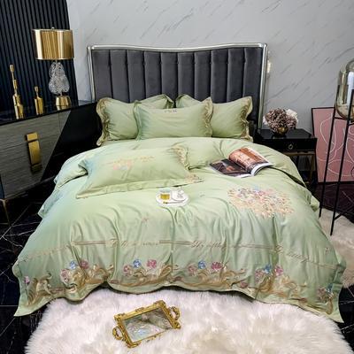 2021新款100s长绒棉刺绣款四件套(珍妮系列) 1.8m床单款四件套 甘草绿