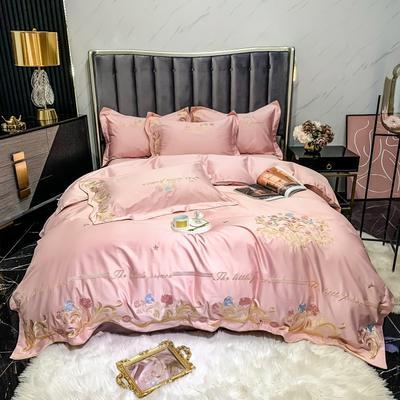 2021新款100s长绒棉刺绣款四件套(珍妮系列) 1.8m床单款四件套 香妃粉