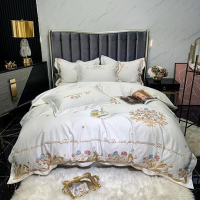2021新款100s长绒棉刺绣款四件套(珍妮系列) 1.5m床单款四件套 象牙白