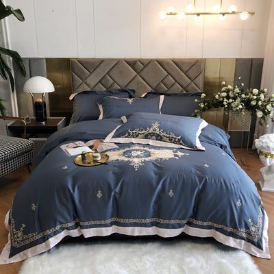 2021新款100s贡棉长绒棉刺绣四件套(赛琳系列) 1.8m床单款四件套 赛琳-爵士蓝
