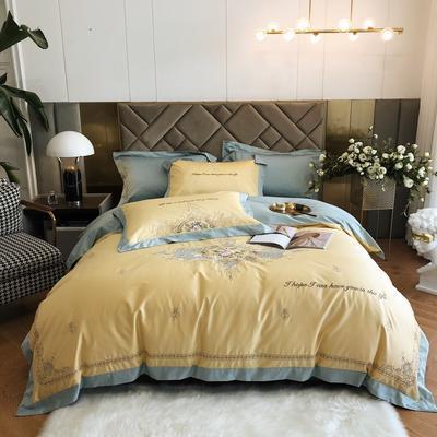 2021新款100s贡棉长绒棉刺绣四件套(赛琳系列) 1.8m床单款四件套 赛琳-浅黄
