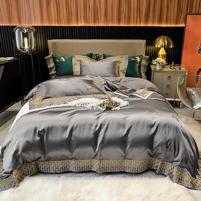 2021新款140s高精密高端柔丝棉刺绣四件套(圣保罗系列) 1.8m床单款四件套 高级灰