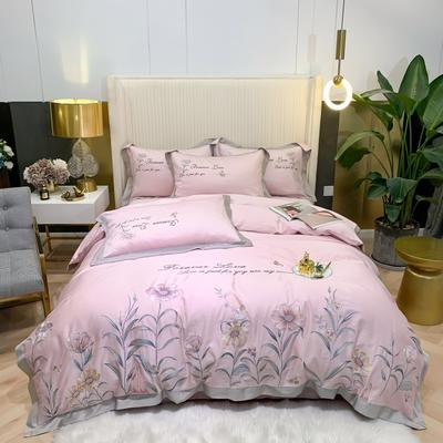 2021新款80s贡缎长绒棉刺绣四件套(花仙子系列) 1.8m床单款四件套 花仙子-粉色