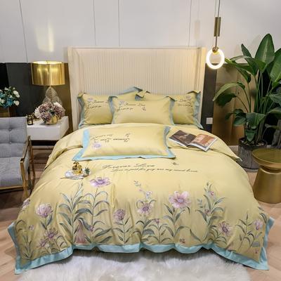 2021新款80s贡缎长绒棉刺绣四件套(花仙子系列) 1.8m床单款四件套 花仙子-黄色