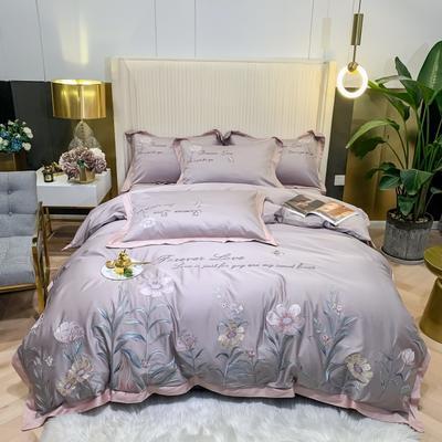 2021新款80s贡缎长绒棉刺绣四件套(花仙子系列) 1.8m床单款四件套 花仙子-灰色