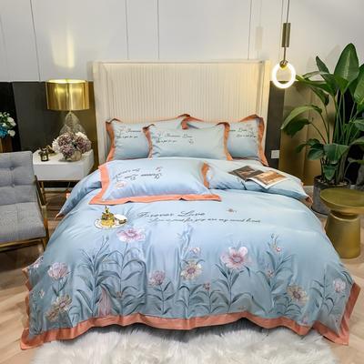 2021新款80s贡缎长绒棉刺绣四件套(花仙子系列) 1.8m床单款四件套 花仙子-蓝色