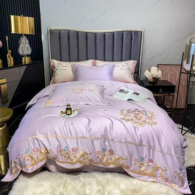 2021新款100s长绒棉刺绣款四件套(珍妮系列) 1.8m床单款四件套 香芋紫